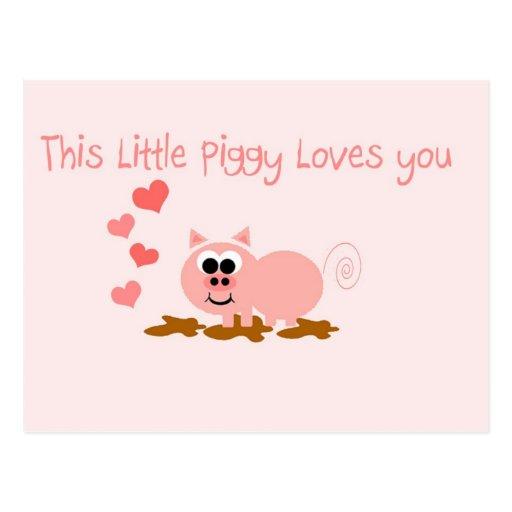 Postal linda del el día de San Valentín del cerdo