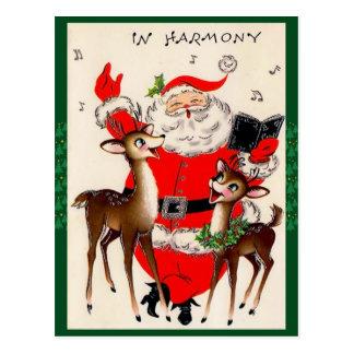 Postal linda del navidad del canto Santa