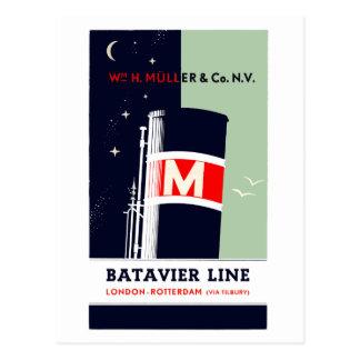 Postal Línea de navegación de Batavier del holandés