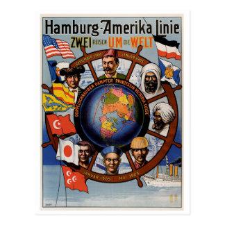 Postal Línea poster de Hamburgo Amerika