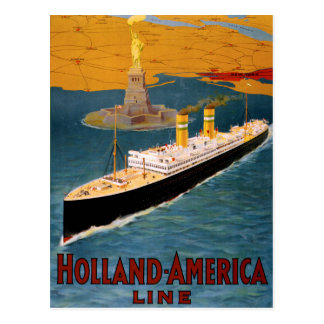 Postal Línea poster de Holanda América del vintage