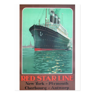 Postal Línea roja anuncio viejo titánico de la estrella