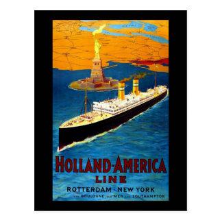 Postal Línea Rotterdam Nueva York de Holanda América