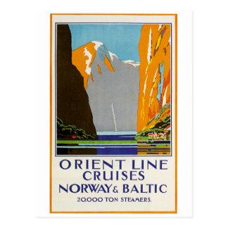 Postal Línea travesías Noruega y vintage báltico de