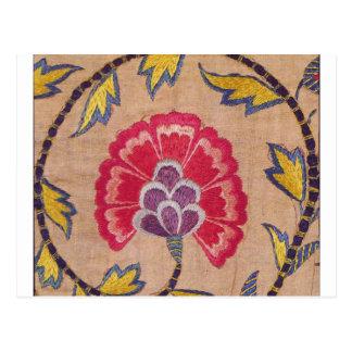 Postal Lino tejido bordado del rosa de la materia textil