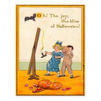 Postal Linterna linda de Jack O de la broma de los niños