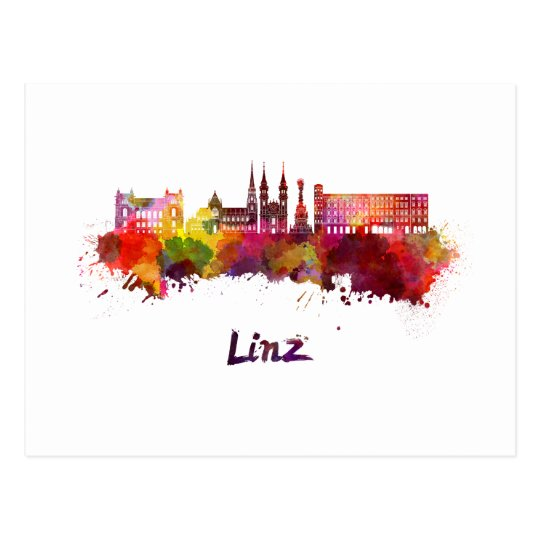 Postal Linz skyline in watercolor