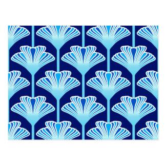 Postal Lirio del art déco, azul de cobalto, aguamarina y