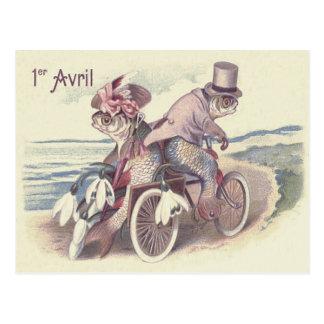 Postal Lirio del océano del mar de la bicicleta de los
