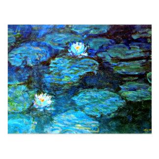 Postal Lirios de agua (azules) por Claude Monet