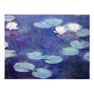 Postal Lirios de agua rosados de Claude Monet