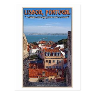 Postal Lisboa - barco en el Tejo