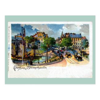 Postal Litho de Bremerhaven Geestebrücke del aus de Gruss