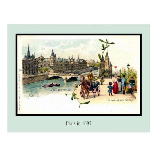 Postal Litho París en 1897 6 del vintage de 6