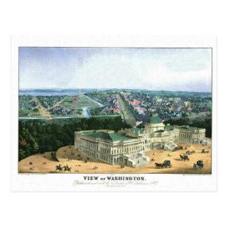 Postal Litografía de color 1852 - vista de Washington