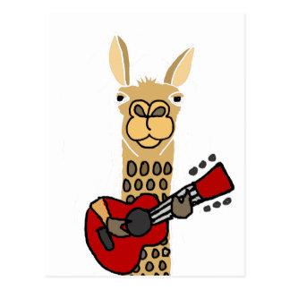 Postal Llama divertida que toca la guitarra