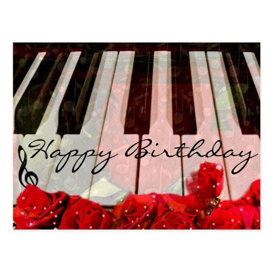 Postal Llaves del piano, rosas y música Notes_