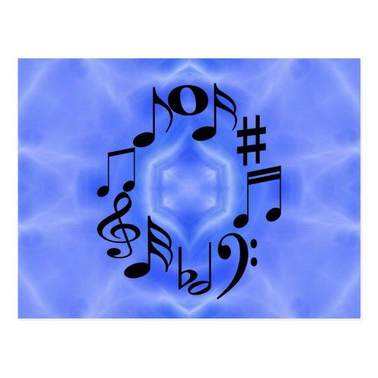 Postal Llaves negras de la nota de la música