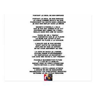 Postal Llevando el Luto de mi Infancia - Poema