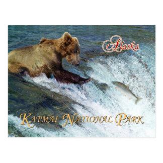 Postal Lleve el coger de los salmones, parque nacional de