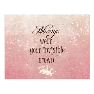 Postal Lleve siempre su cita invisible de la corona