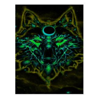 Postal Lobo amarillo de neón mítico