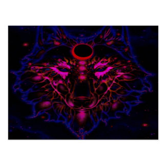 Postal Lobo azul de neón mítico
