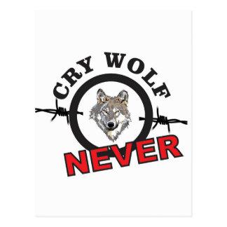 Postal lobo de púas del grito ningún