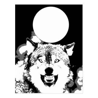 Postal Lobo y luna