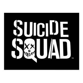 Postal Logotipo blanco del pelotón el | del suicidio