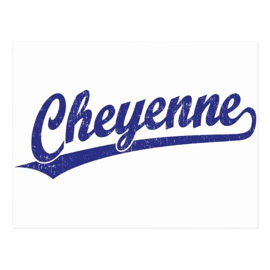 Postal Logotipo de la escritura de Cheyenne en azul