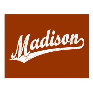 Postal Logotipo de la escritura de Madison en el blanco