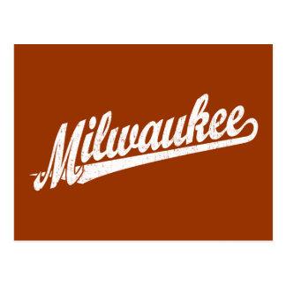 Postal Logotipo de la escritura de Milwaukee en el blanco