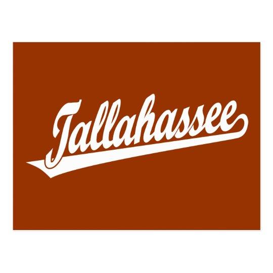 Postal Logotipo de la escritura de Tallahassee en blanco