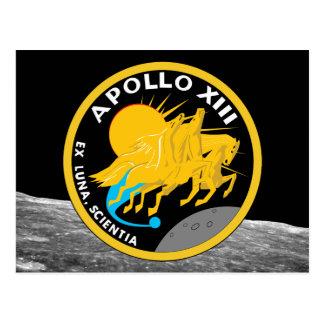 Postal Logotipo del remiendo de la misión de la NASA de