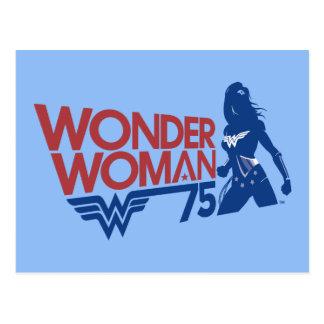 Postal Logotipo rojo y azul del aniversario de la Mujer