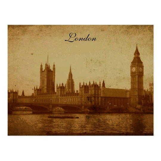 Postal Londres el río Támesis y el parlamento