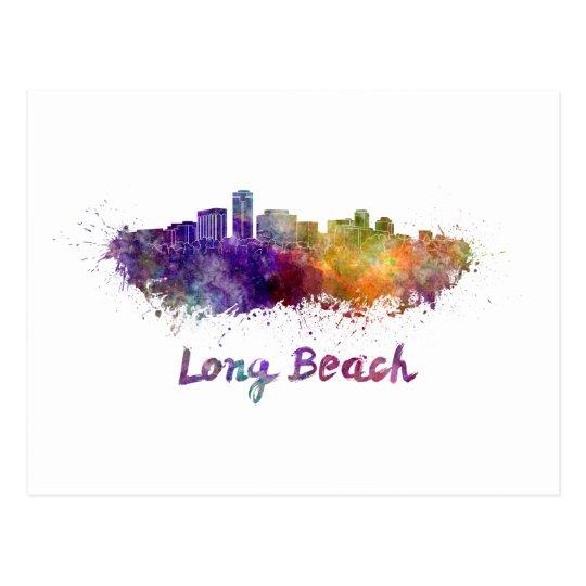 Postal Long Beach skyline in watercolor