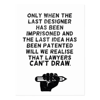 Postal ¡Los abogados no pueden dibujar!