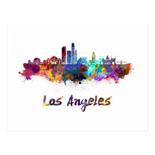 Postal Los Angeles skyline in watercolor
