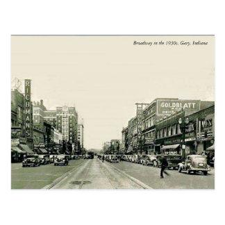 Postal Los años 30 Gary, Indiana de Broadway