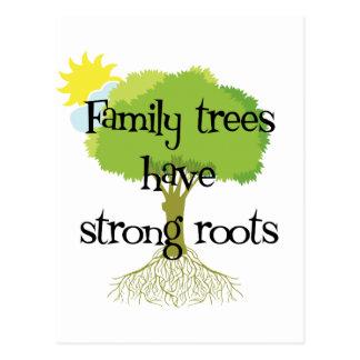 Postal Los árboles de familia tienen raíces fuertes