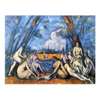 Postal Los bañistas grandes de Paul Cezanne