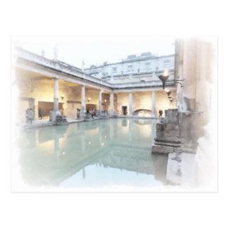 Postal Los baños romanos, baño