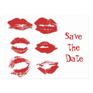 Postal Los besos del lápiz labial - ahorre la fecha