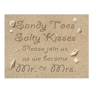 Postal Los besos salados de los dedos del pie de Sandy de