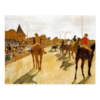 Postal Los caballos de carreras antes del hacen una pausa