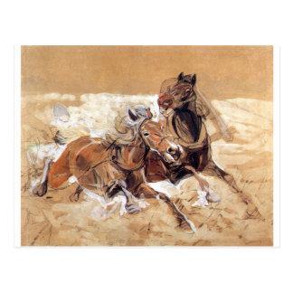 Postal Los caballos elaboran a los lobos de pintura