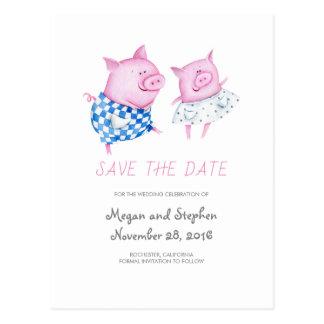 Postal Los cerdos dulces y lindos ahorran la fecha