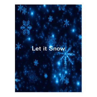 Postal Los copos de nieve azules y brillantes profundos